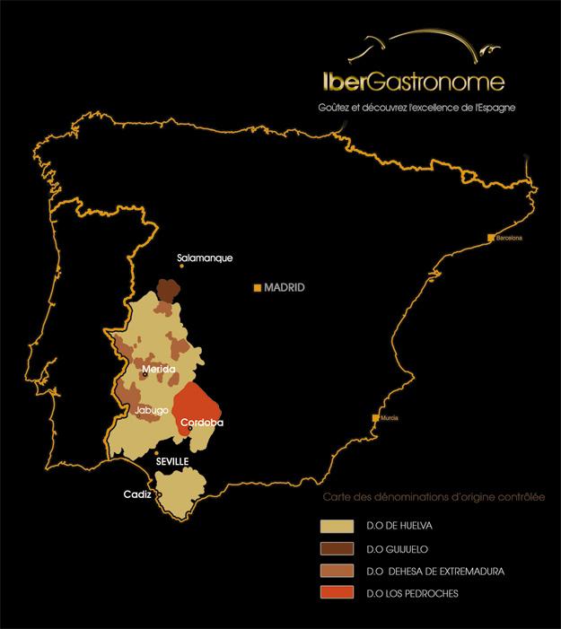 régions de production jambon ibérique